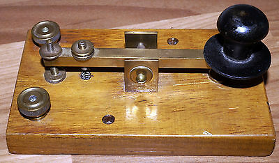 British UK wood & brass straight morse key CW Telegraph QRP
