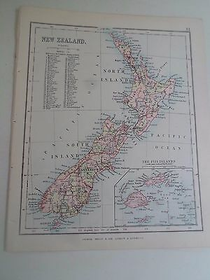 Antique Map 1890 NEW ZEALAND From Philips Atlas For Beginners  §31