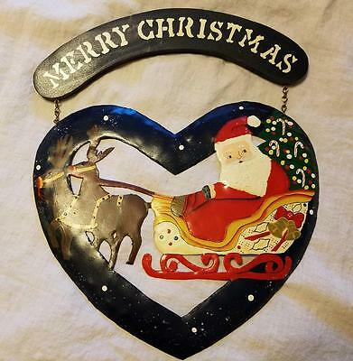 Handmade Painted Tin Metal Heart Santa Sleigh Reindeer Blue Red Sign WELCOME