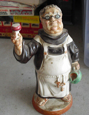 "Vintage 1969 Barsottini NY Monk Figural Decanter Bottle Empty 11"" Tall"
