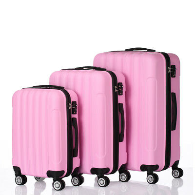 3 Pcs ABS Hard Suitcase Coded Lock Spinner Trolley Wheels Luggage Set Travel Bag