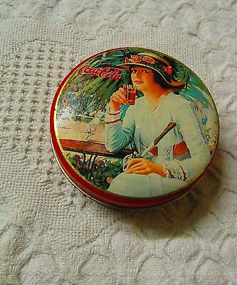Vintage Small Round Coca-Cola Tin, Lady Drinking Coke, 1994