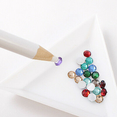 7.5cm Length 1cm Height Triangle Plate White Plastic Material Box for Rhinestone