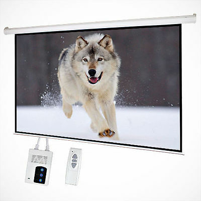 "100"" 16:9  Electric Motorized Projector Screen HD TV Projection+Remote Control"