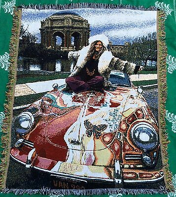 Iconic JANIS JOPLIN on Psychedelic VW Jacquard Throw Blanket Tapestry - VGUC