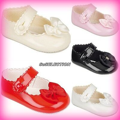 Baypods Baby Girl Patent Pram Shoes-Pink/cream/red/white-Made In England-New