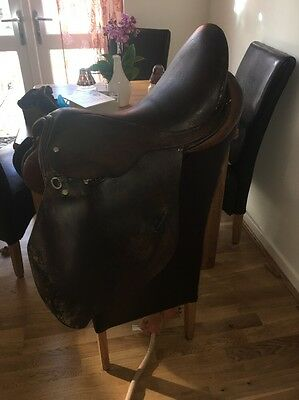 17 Inch Brown English Leather GP Saddle Medium To Wide Width