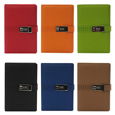 Large Diaries Journals Notebook PU Leather A5 with Code Lock Secret Diary Girls