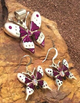 NATIVE AMERICAN BUTTERFLY Sterling Silver Inlaid Amethyst Pendant and Earrings