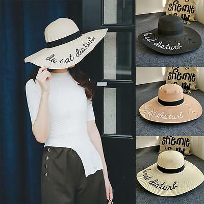 Women Sun Hat Wide Brim Straw Hats Foldable Beach Hats Letter Embroidery Trendy