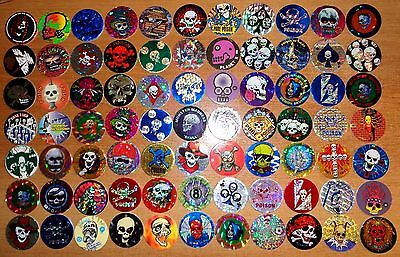 POGS lot de 77 Pogs Tous DIFFERENTS Têtes de Morts, Squelettes (V-TMT 77 001)