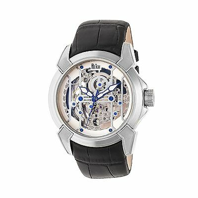 Reign Optimus Automatic Skeleton Dial Leather-Band Watch, Silver, : REIRN3801