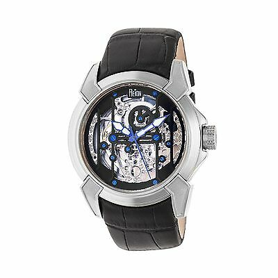 Reign Optimus Automatic Skeleton Dial Leather-Band Watch, Silver/: REIRN3802