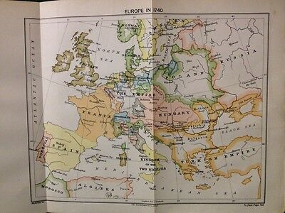 EUROPE IN 1740 MAP by BARTHOLOMEW - From Balance Of Power, Hassall, 1908