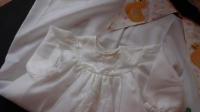 VINTAGE 1960s  Embroidered Christening Gown 0/3month REBORN/TV PROPS/THEATRE