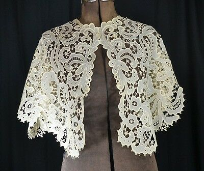 Berta collar shawl large white lace needle punto very good antique original