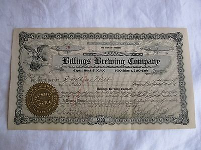 Antique 1914 Billings Brewing Company Stock Certificate Montana Beer Yellowstone