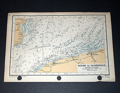 2 WW2 NAVAL ENGLISH CHANNEL MAPS of DOVER TO DUNKERQUE TO AUTHIE RIVIERE 1943