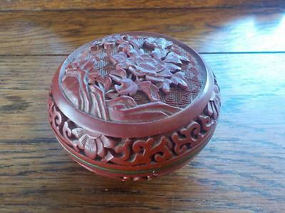 Chinese Cinnabar Lacquer Flower Carved Round Box Red Trinket / Snuff Box