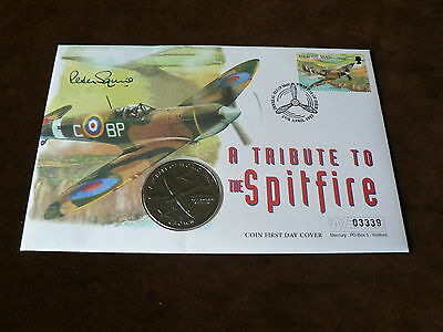1995 Isle of Man Crown Coin on Signed Cover, Tribute to Spitfire, WWII Aircraft