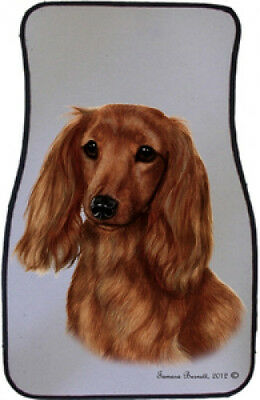 Car Floor Mats Pair - Longhaired Red Dachshund 36138