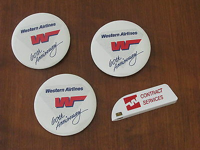 WESTERN Airlines 3 pin back BUTTONS + PAPER MAGICUTTER