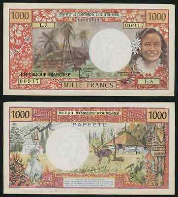 1977 Colorful Tahiti 1000 Francs Banknote Institut D'Emission D'Outre-Mer P#27b