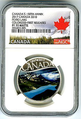 2017 $10 Canada 150Th Silver Proof Ngc Pf70 Peyto Lake Alberta First Releases