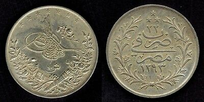 Egypt Silver Coin 1896 AD 10 Qirsh Ottoman Sultan Abdul Hamid II  Proof AU