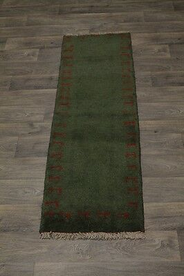 Nice Hallway Tribal Green Gabbeh Modern Persian Rug Oriental Area Carpet 2X6