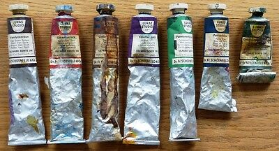 7 Lukas Studio Tubes Of Oil Paints Green, Blue, Violet, Umber, Brown, Geranium