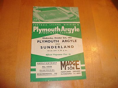 1963 - 1964 PLYMOUTH v SUNDERLAND # LEAGUE MATCH