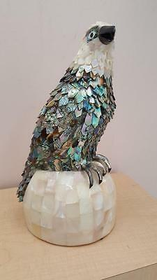 Gorgeous & Majestic Handmade Abalone, Mother of Pearl & Onyx Eagle Figurine os
