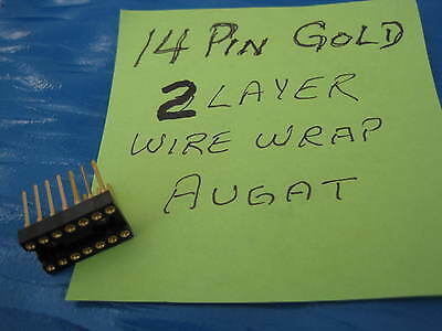 10 pcs. 14 pin Wire Wrap DIP IC Sockets Gold  Augat 2 Layer