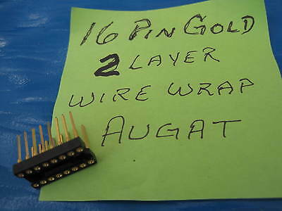 10X  16 PIN AUGAT GOLD  Wire Wrap IC DIP  Socket 2 layer