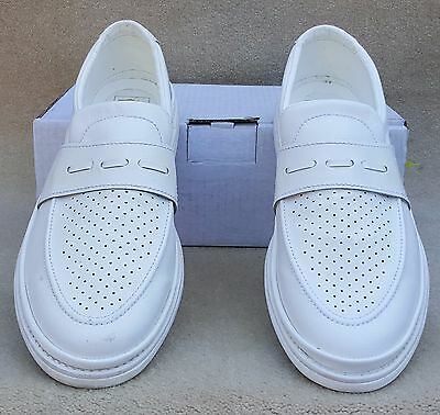 ELITE Mens Cairo White Slip On Bowls Bowlers Shoes Sz 11 Ex Display Marked (39)