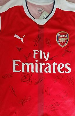 Arsenal Autograph 16/17 Team Hand Signed Shirt - See Exact Proof!!