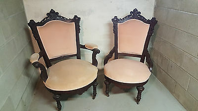 Antique Victorian Mahogany PARLOR CHAIRS SET Ornate Detailing