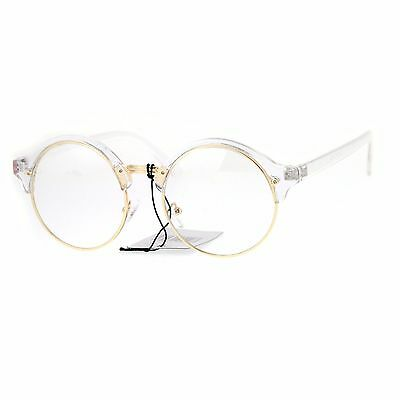 Fashion Eyeglasses Clear Lens Glasses Round Circle Frame Clear UV 400