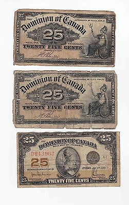 (2) 1900 and (1) 1923 Fractional Currency Canada