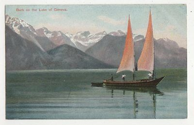 Bark On The Lake of Geneva Vintage Postcard Switzerland 392a