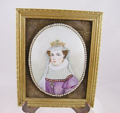 ANTIQUE PORCELAIN PAINTING of MARY QUEEN of SCOTS SEED PEARLS FRAMED PAINTING