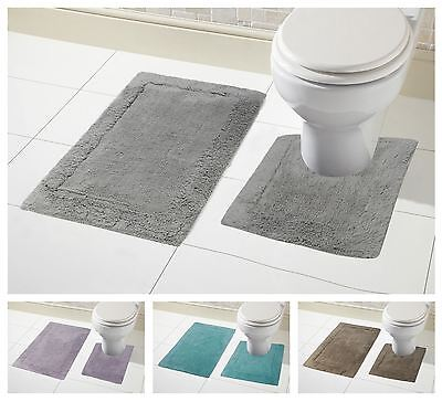 2 Piece Bath Mat Set, Soft 100% Cotton Pedestal & Mat Set, Non Slip Reverse