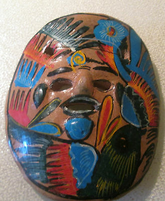 "Terra-cotta Mask Mexico Clay Inca Aztec Mayan Hand Painted 3 3/4"" Wide VGC"