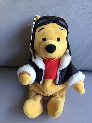 Disney Store Beanie Plush Pilot Pooh Adult Collector Displayed