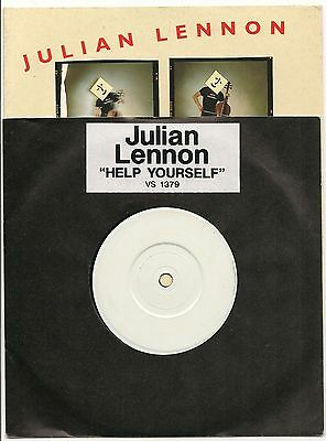 """Julian Lennon Help Yourself Rare 7"""" White Label In Stickered Sleeve 1991"""