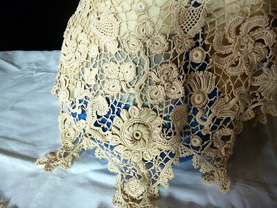 Antique 1800s Handmade Large İrish Crocheted Lace Collar & Cuffs Set