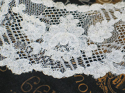 Antique C1900s Victorian HM French Tambour Net Lace Collar Off White