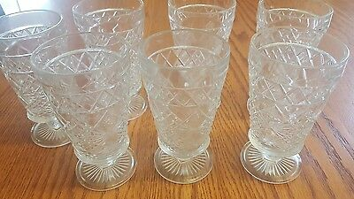 7 Antique Cut Glass Water Goblets