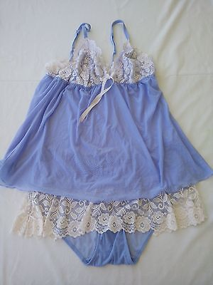 Cabernet 2 Piece Cami Top & Panties Lingerie Womens Plus Size 2X Light Blue lace